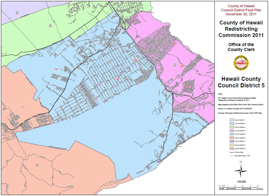 Hawaii County Council District 5 Map