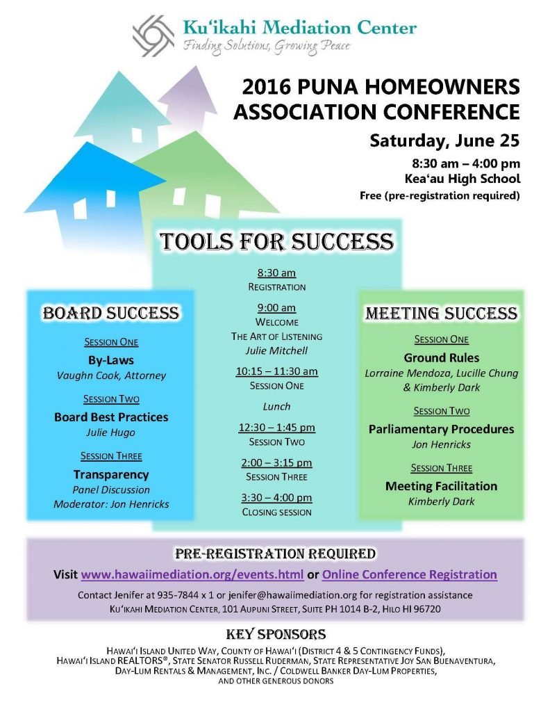 flyer for the 2016 Puna Homeowner Association Conference