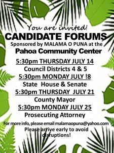 flyer for candidate forum puna 2016