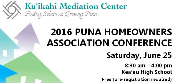 Flyer of Puna Homeowner Association event